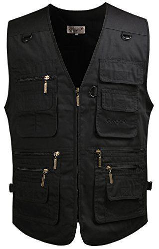 Mrignt Mens Travel Hunting Zipper Black Denim Vest Jackets (US 2XL ...