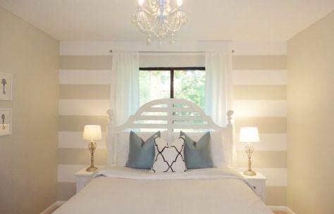 streifen an der wand neutral farbe beige weiss schlafzimmer bett