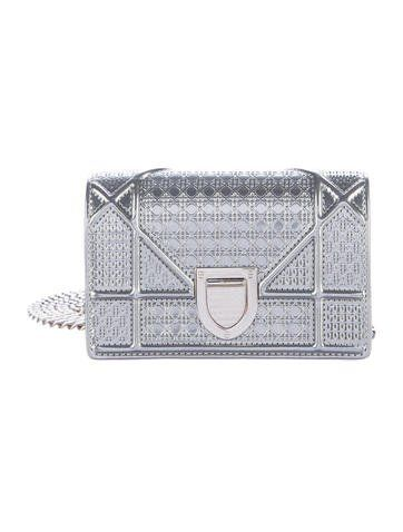 01231be50d97 Metallic silver Microcannage patent leather Christian Dior Micro Diorama bag  with silver