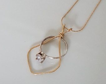 ring holder necklace rose gold engagement and wedding ring - Wedding Ring Necklace