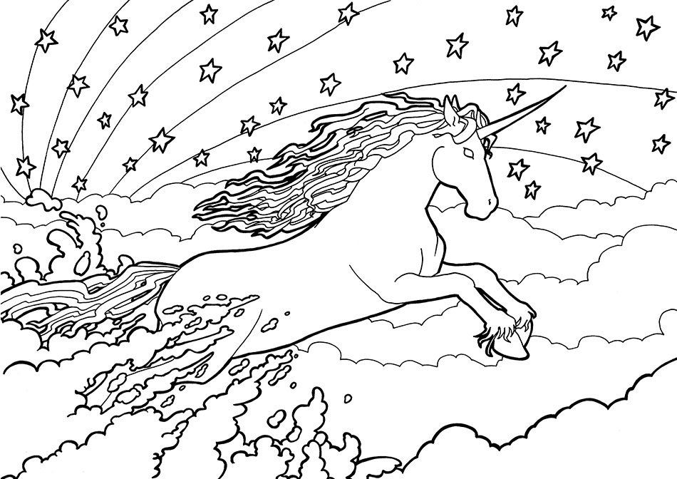 Unicorn And Rainbow Colouring Page Jumping Unicorn Colouring