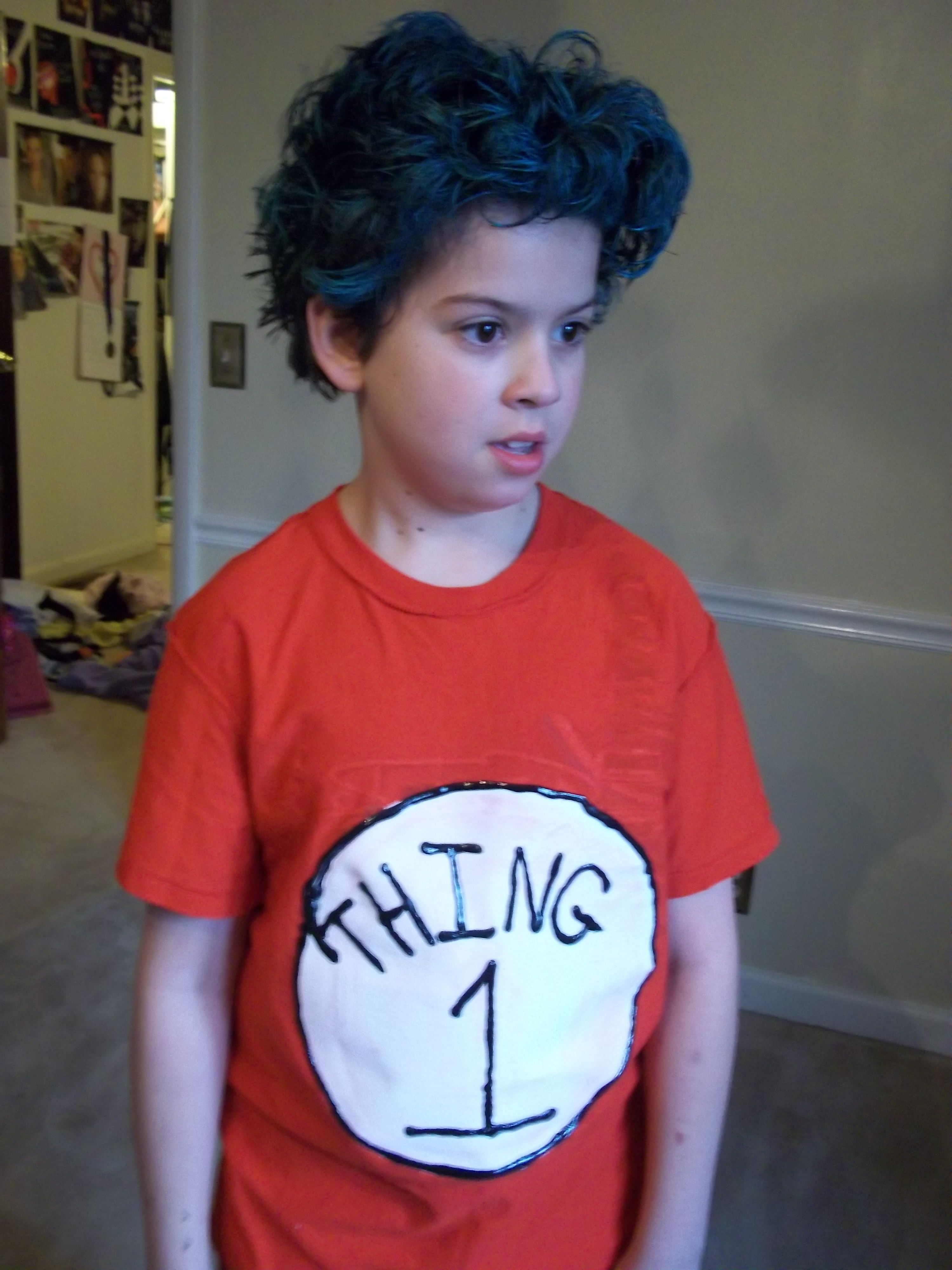 A Simple Costume For Dr Seuss Day Just Painted A Red Shirt With Thing 1 Blue Hair Spray And