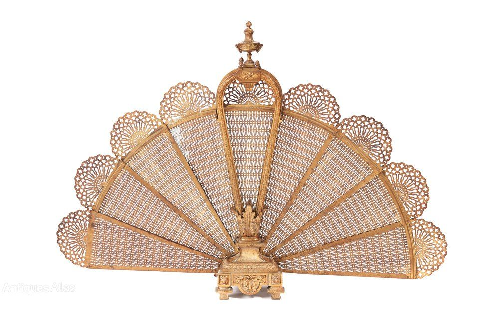 Unusual Antique French Bronze And Brass Fire Screen in ...