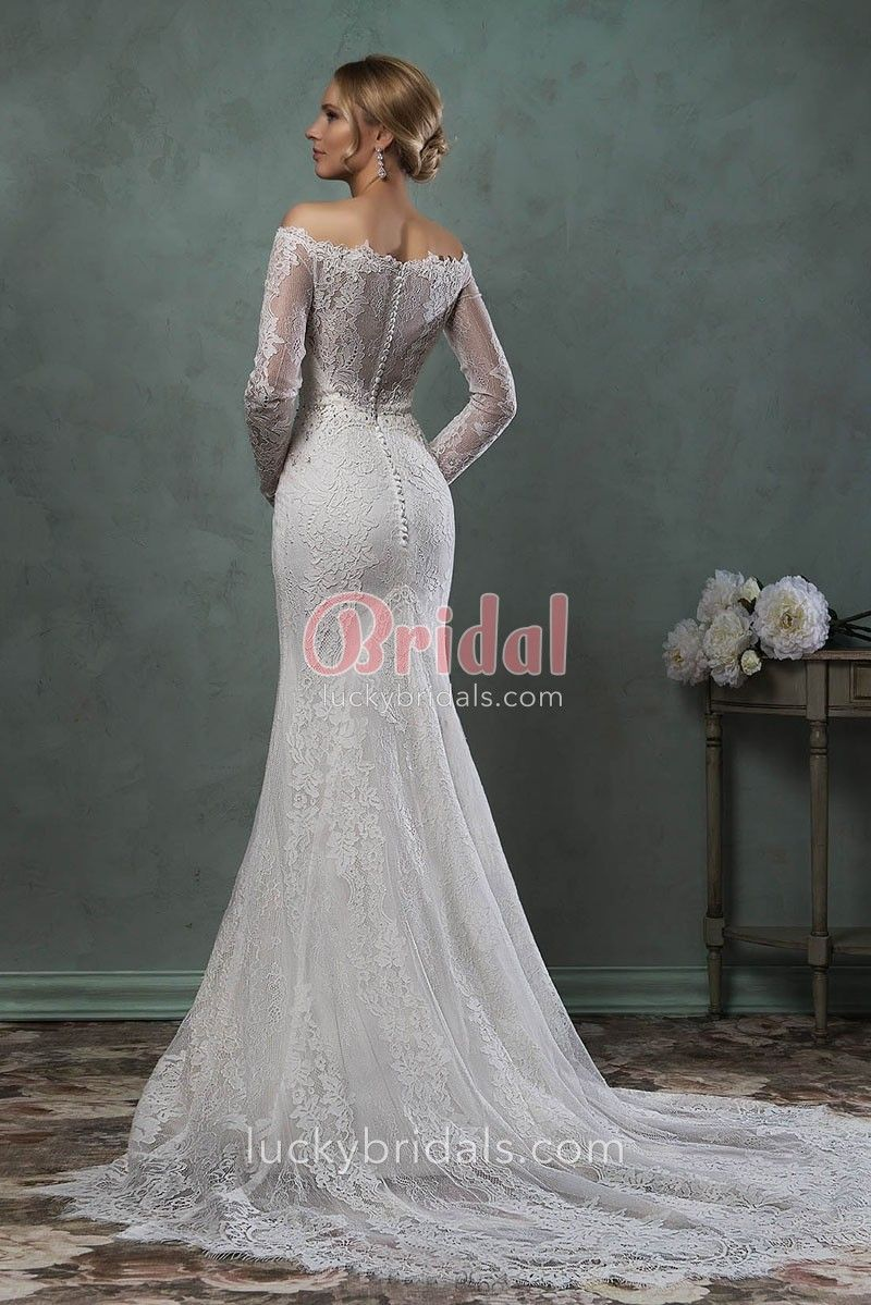 Elegant mermaid lace wedding dress with illusion offtheshoulder