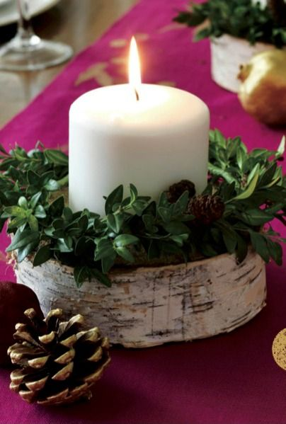 Birch and Boxwood Candleholder //.womansday.com/home/decorating /g1015/christmas-table-decoration-ideas/?slideu003d10 & 32 Fun and Simple Christmas Table Decoration Ideas | CHRISTmas by ...