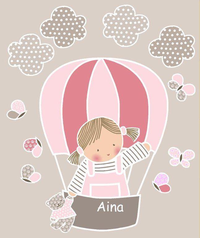 Vinilo infantil con ni a en globo aerost tico for Vinilos infantiles nina