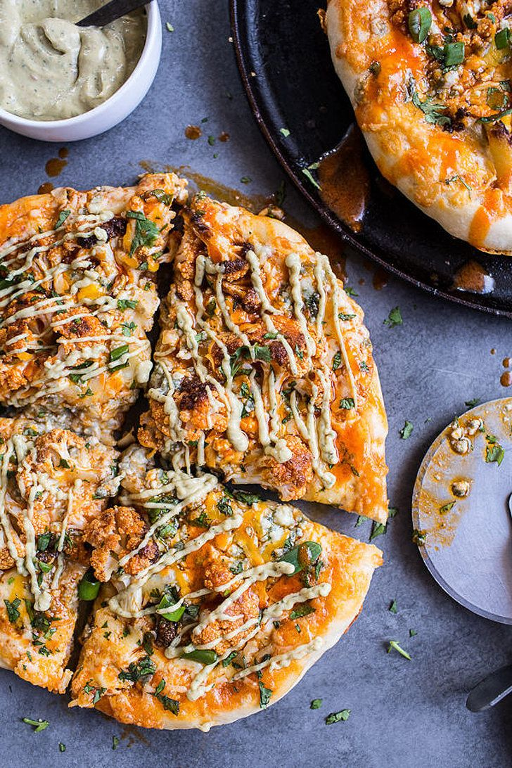 Buffalo Roasted Cauliflower Skillet Pizza With Chipotle Blue Cheese Avocado Drizzle
