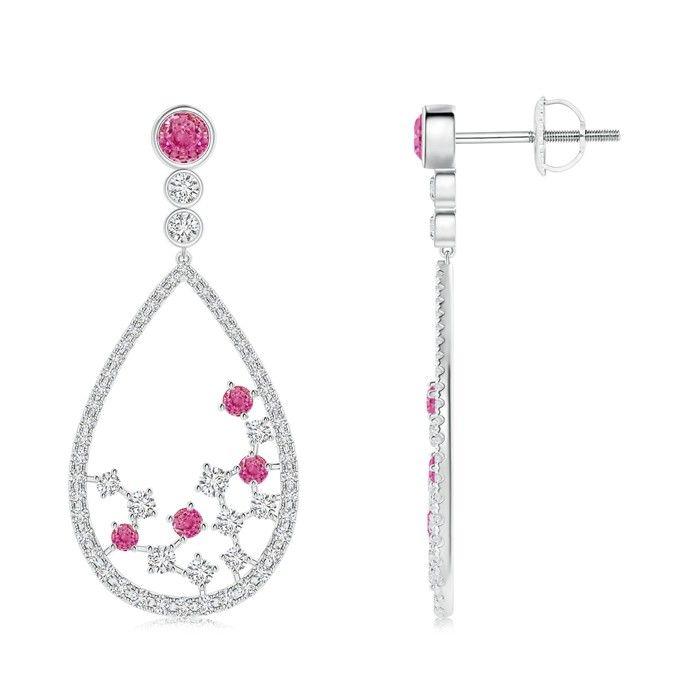 Angara Dangling Ruby Chandelier Earrings with Diamond Border 3Hhe3C