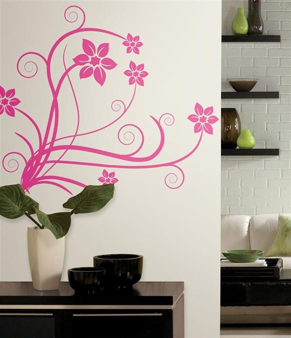 Girly pink swirl wall decal for girls room