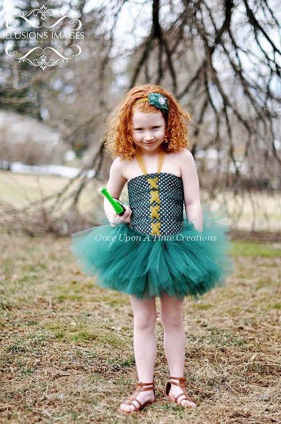 daf42b9d4 Merida Brave Inspired Princess Tutu Dress - Birthday Outfit, Halloween  Costume - Little Girl or Baby Size 3 6 9 12 18 Months 2T 3T 4T 5