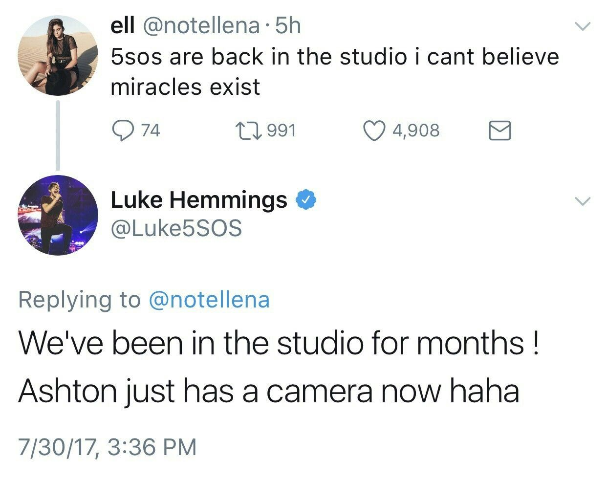 Well Luke, tell ash to use that fancy camera of his to take some pictures of himself. I miss him. :(