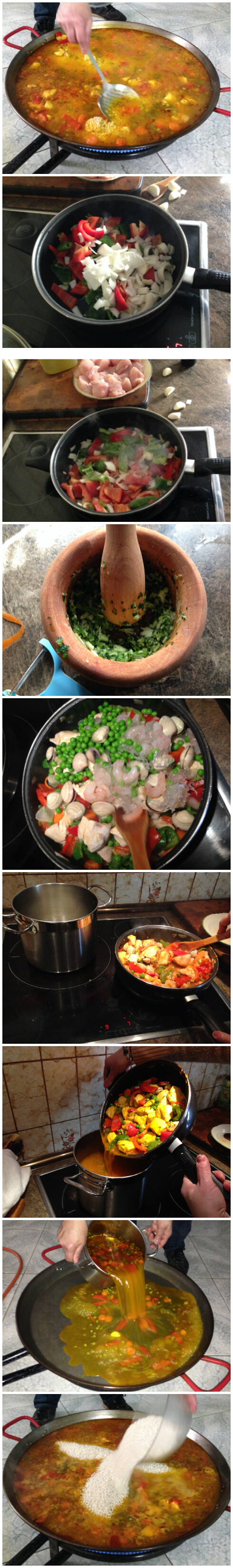 Paella step by step.
