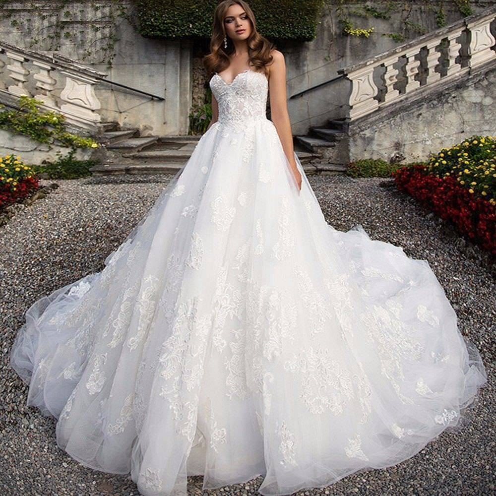 New whiteivory lace wedding dress tulle appliques princess a line