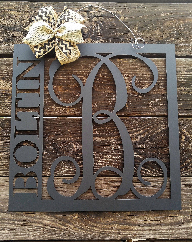 Metal Sign Wall Decor Mesmerizing Front Door Hanger Front Door Wreath Last Name Sign Home Decor Design Inspiration