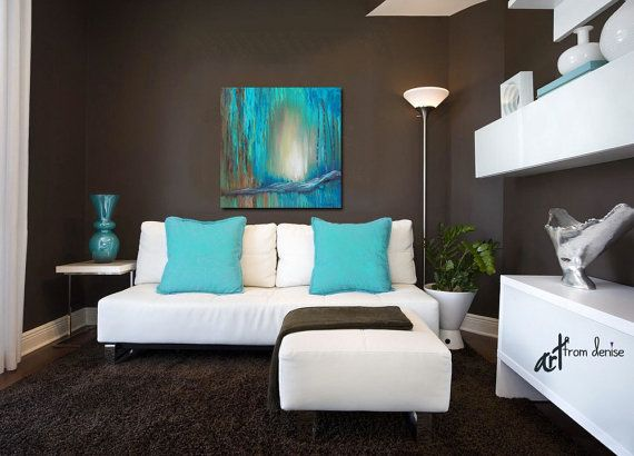 Large Wall Art Canvas Turquoise Teal Brown Aqua Blue Original