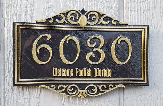 Personalized Haunted Mansion Themed Address Plaque w/ Welcome