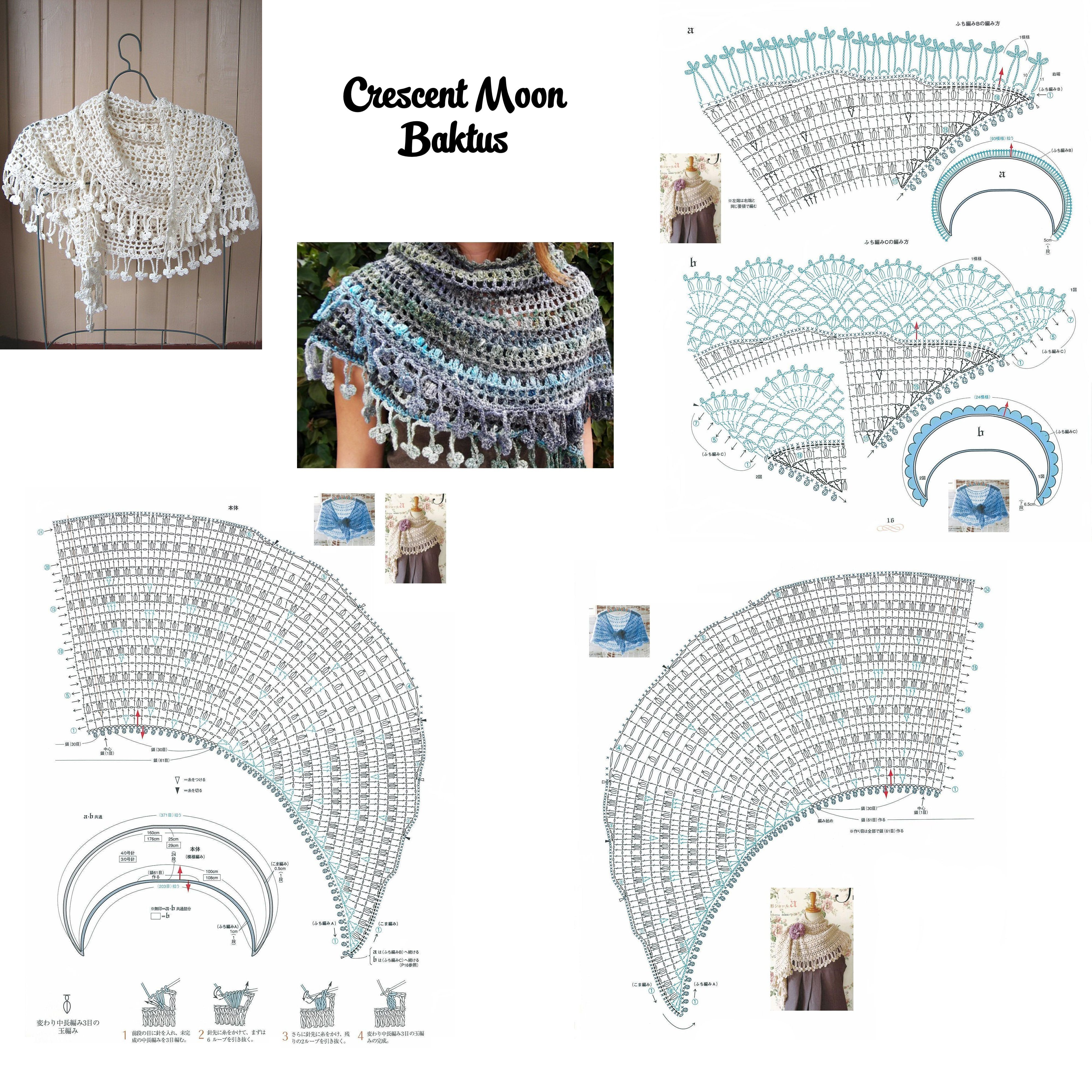 Crochet Crescent Moon Baktus | Шали,палантины,бактусы. | Pinterest ...