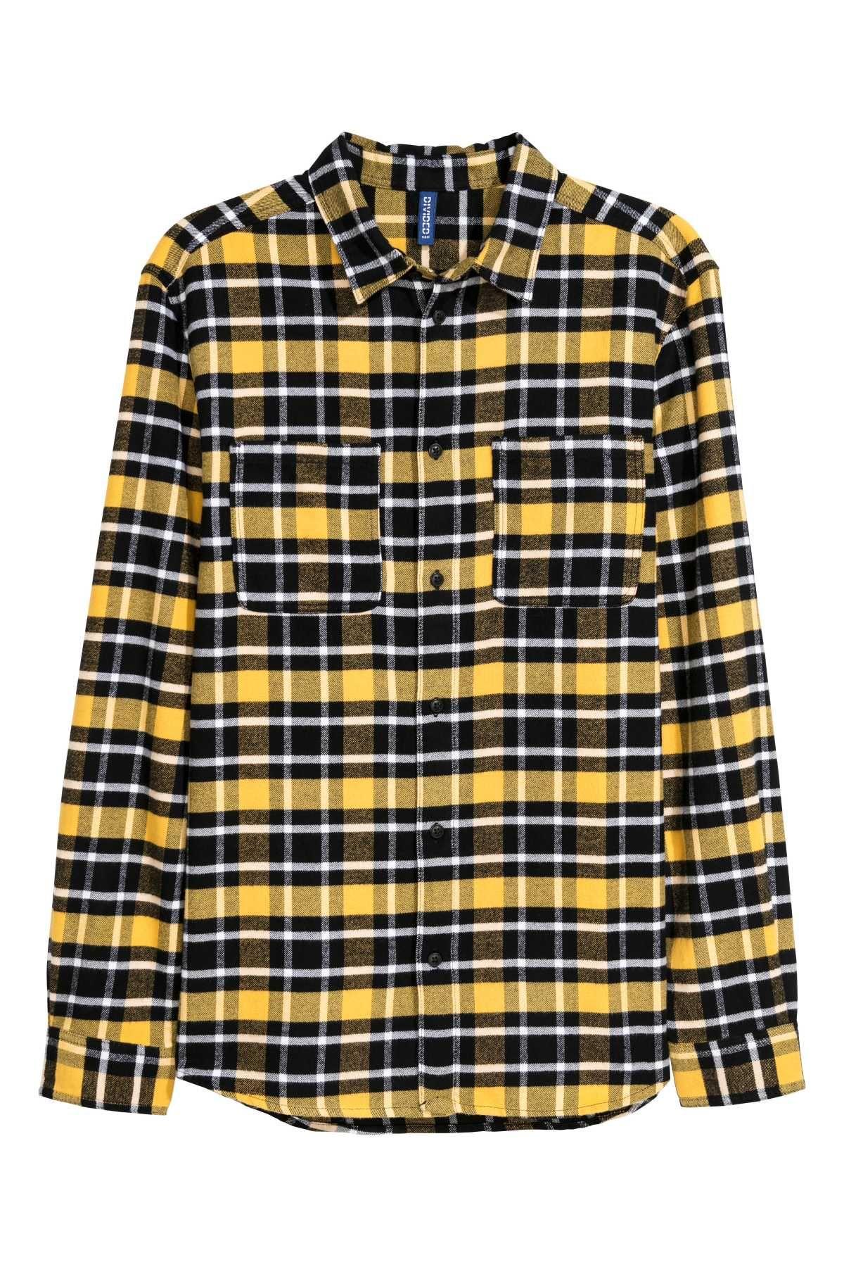 Flannel shirt ideas  Yellowblack plaid Plaid flannel shirt with collar and a chest