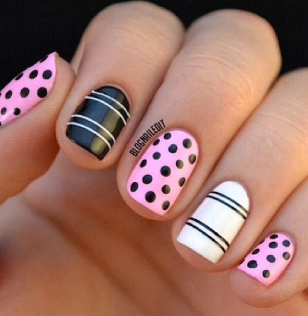 Polka dot and stripe nails   Polka dot and stripe nails