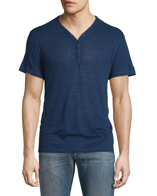 4b398fb6e7b Short-Sleeve Linen-Blend Henley T-Shirt Regal Blue