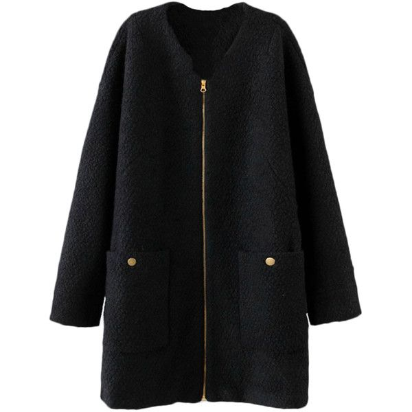 Blackfive Patch Pockets Zipped Collarless Md-long Coat (€45) ❤ liked on Polyvore featuring outerwear, coats, jackets, coats & jackets, zip coat, collarless coat, longline coat, long coat et zipper coat