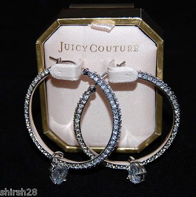 Bodice Juicy Couture Crystal Pave Hoop Earrings With Drop Hearts