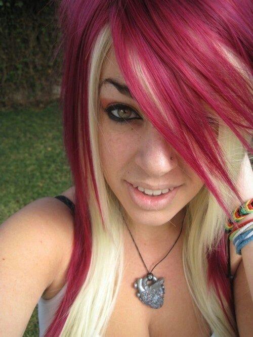 Blonde And Magenta Hair Blonde Underneath Hair Red