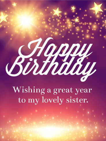 Shining Star Happy Birthday Card for Sister For a sister who