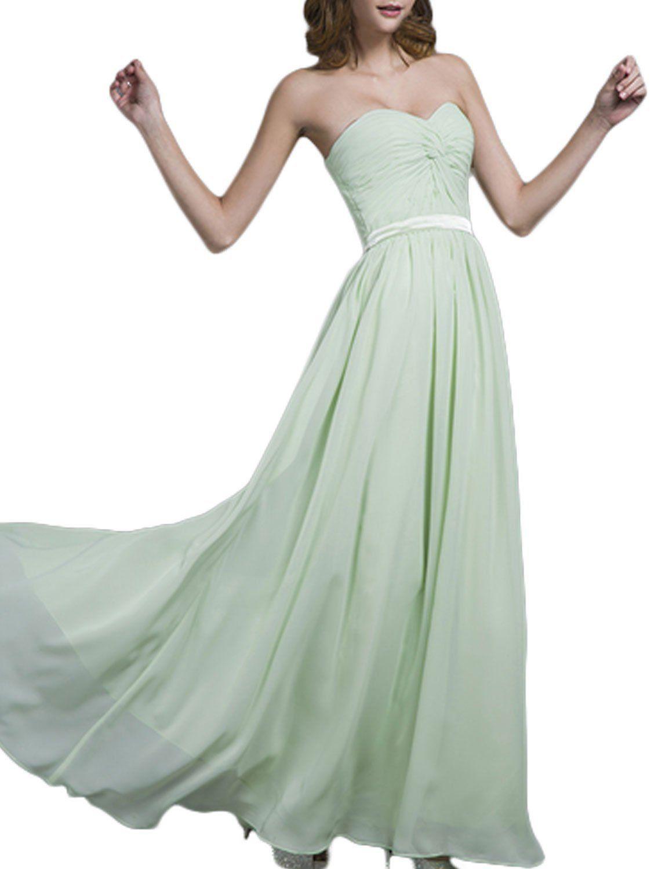 04e9663985be LovingDress Women's Prom Dress Chiffon Bridesmaid Dress A Line Evening Dress -Sage