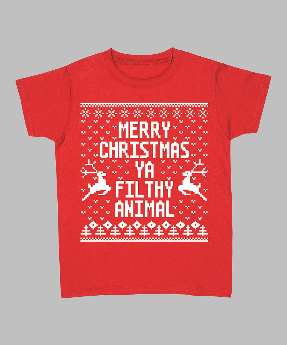 Red 'Merry Christmas Ya Filthy Animal' Tee - Women & Plus | Daily deals for moms, babies and kids