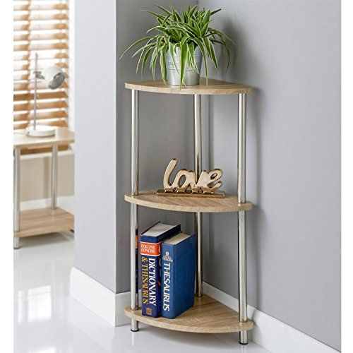 Oak Finish Svar 3 Tier Corner Storage Shelves Unit Stainless Steel Legs Corner Storage Shelves Interior Furniture Corner Storage