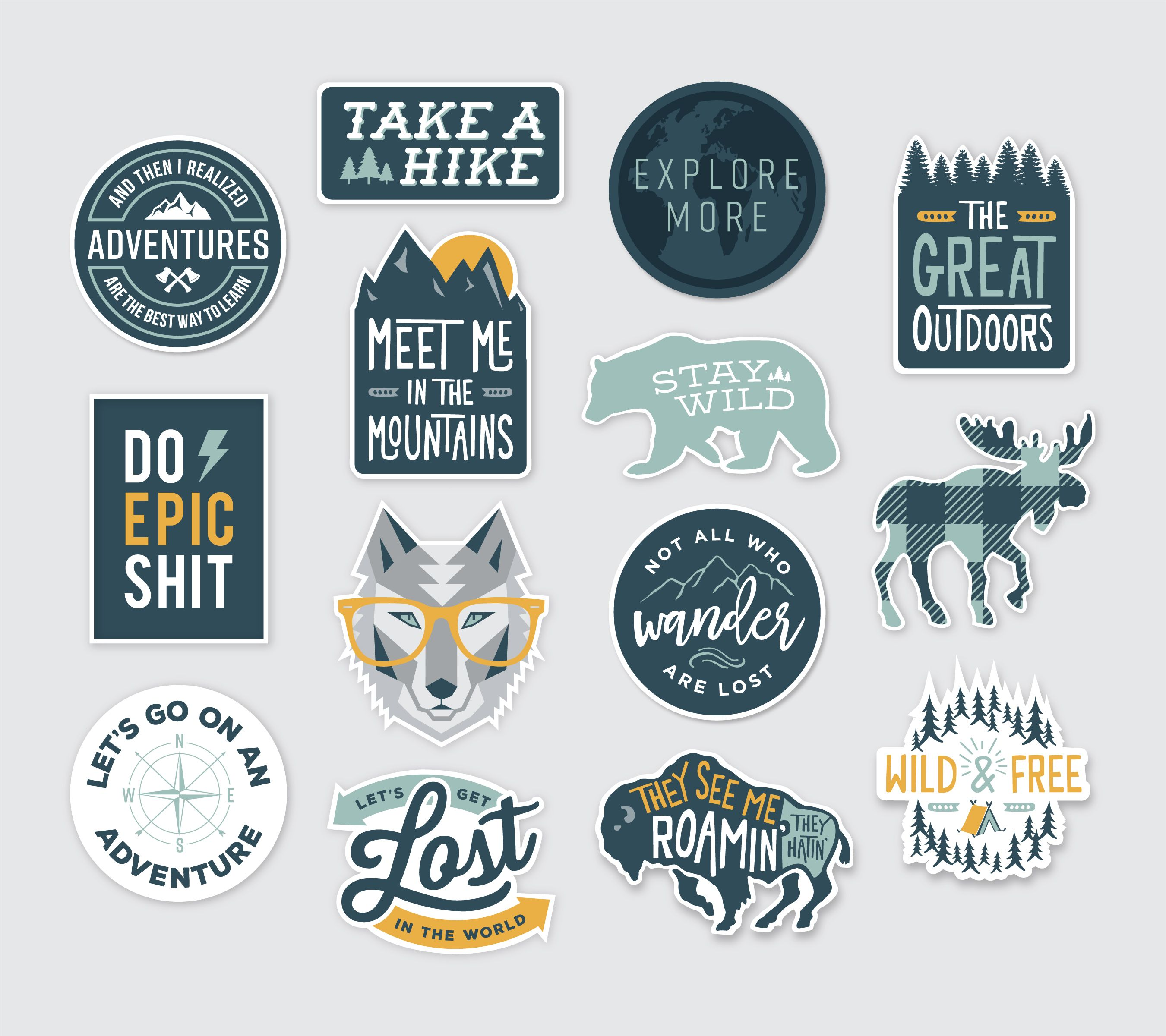 Outdoor vinyl sticker design collection nature inspired wilderness