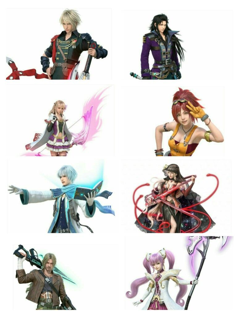 Final Fantasy Brave Exvius Rain Laswell Fina Lid Nichol Dark Fina Jake And Sakura Final Fantasy Art Final Fantasy Fantasy Series