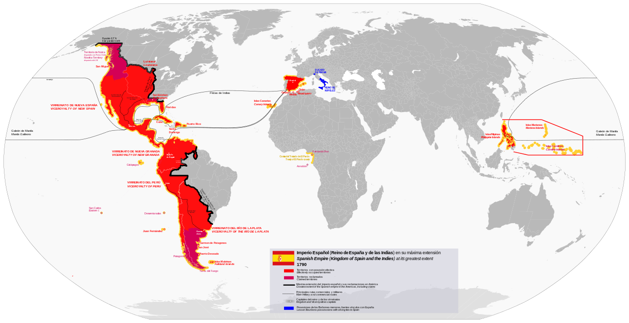 Map Of Spain In The World.Spanish Empire At Its Greatest Extent 1790 Map Spain World