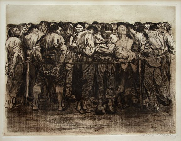 Käthe Kollwitz: Die Gefangenen (The Prisoners). Etching, drypoint, and soft-ground, 1908.