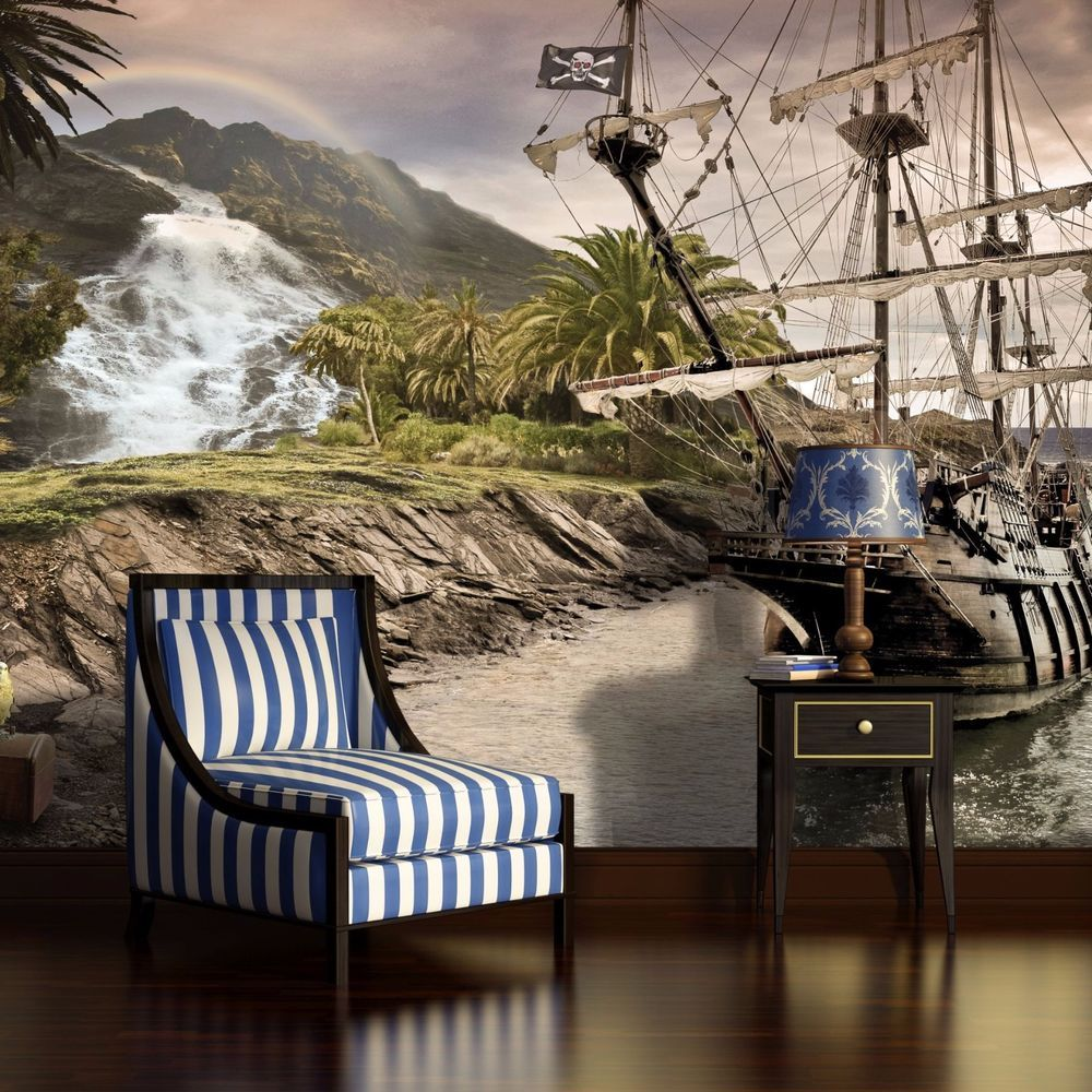Photo Wallpaper ISLAND PIRATES SHIP Wall Mural (2050VE)