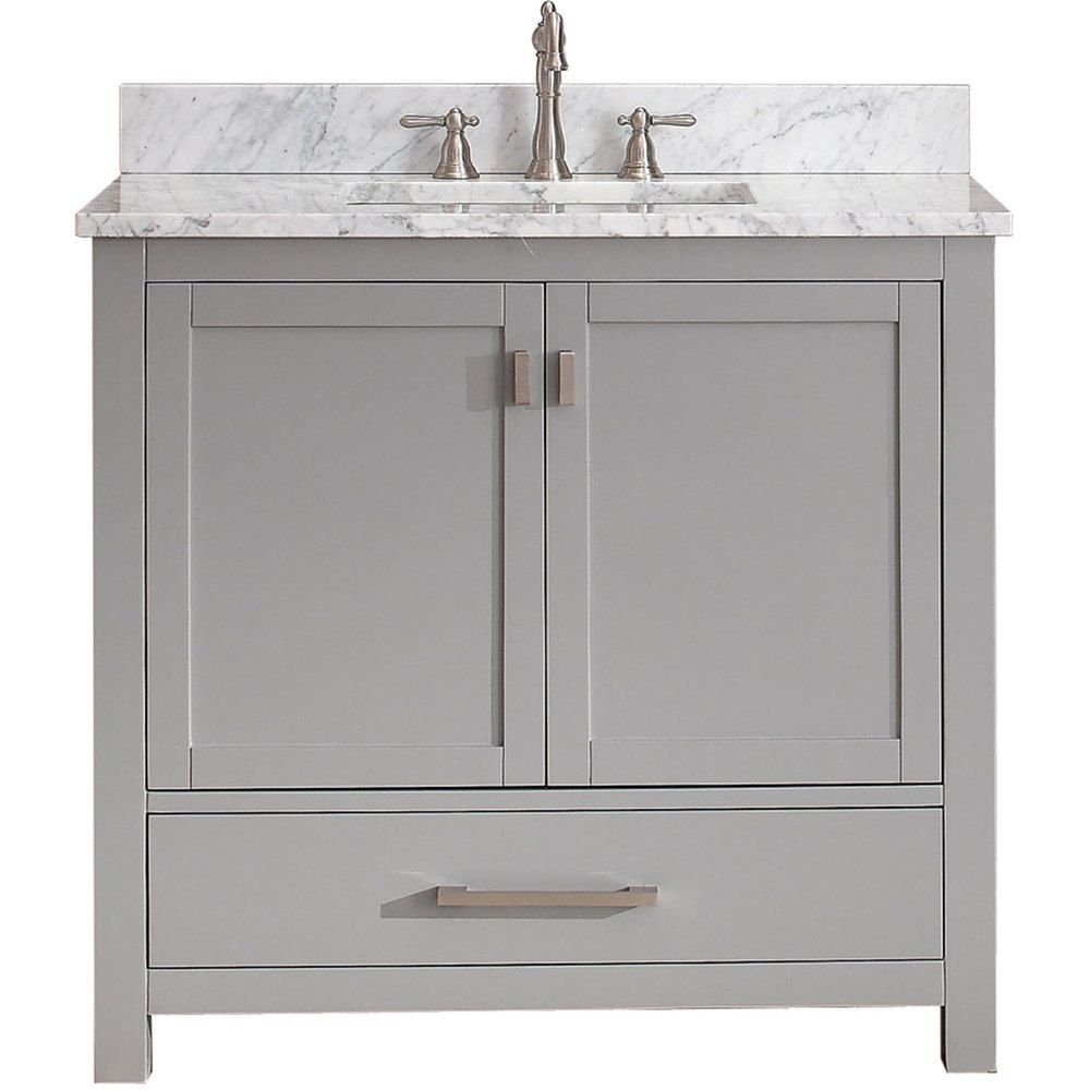 Avanity Modero 37 Inch Vanity Combo In Chilled Gray With Top And
