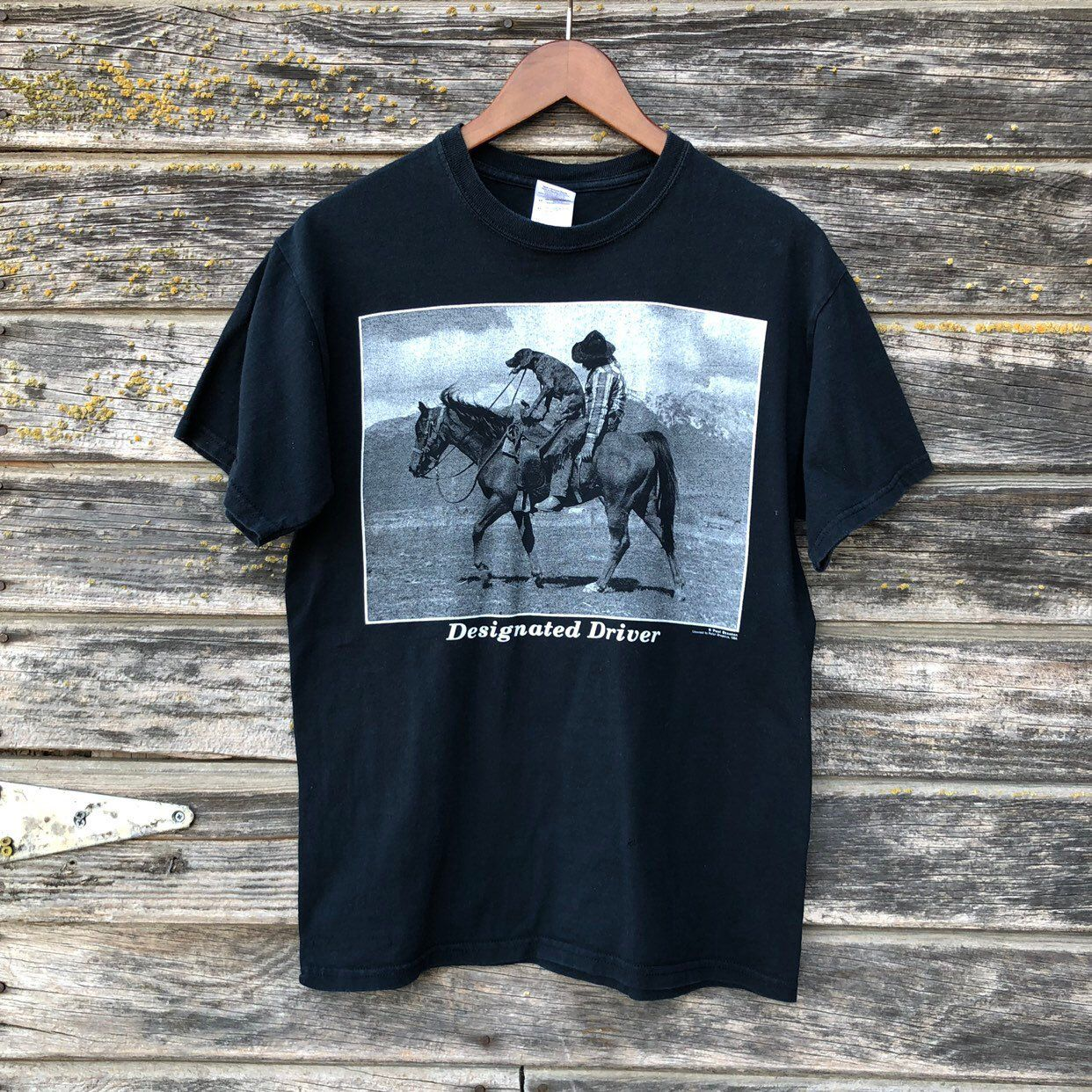 4e74bac6 Designated Driver T-shirt dog riding horse drunk cowboy Paul Stanton  graphic tee vtg 90s men S/M 38
