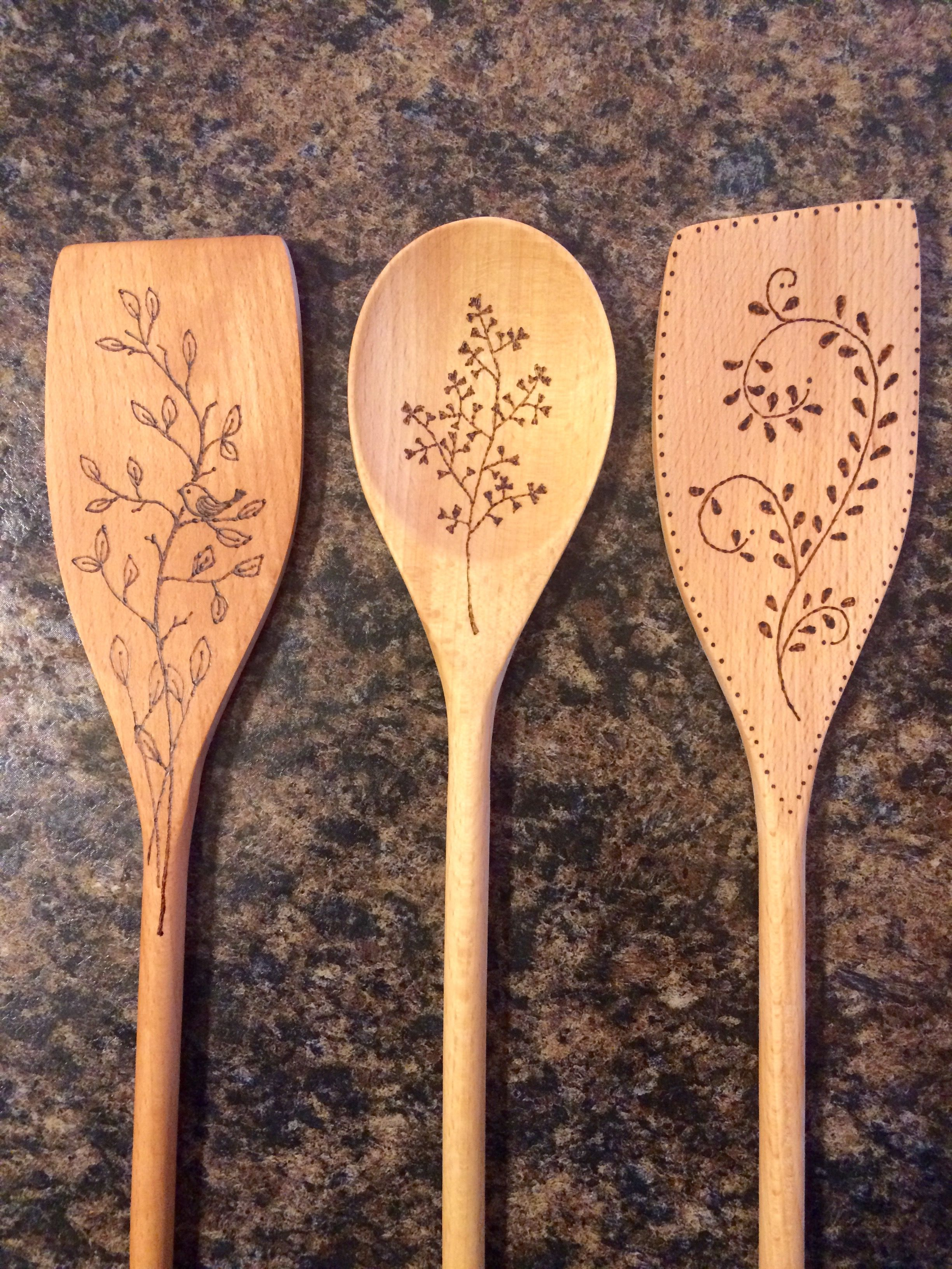 Wood Burning Spoons Family Prayer /& Farm Living 4 Wooden Spoons Coffee Stained