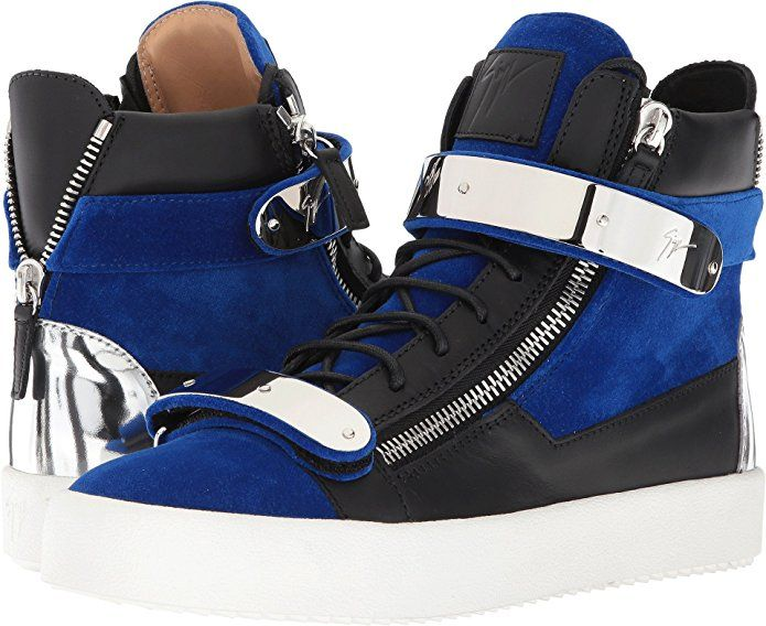 5f2bbf4102297 Giuseppe Zanotti Men's May London Flocked Hardware High Top Sneaker Blue  #hightopsneakers #giuseppezanotti #