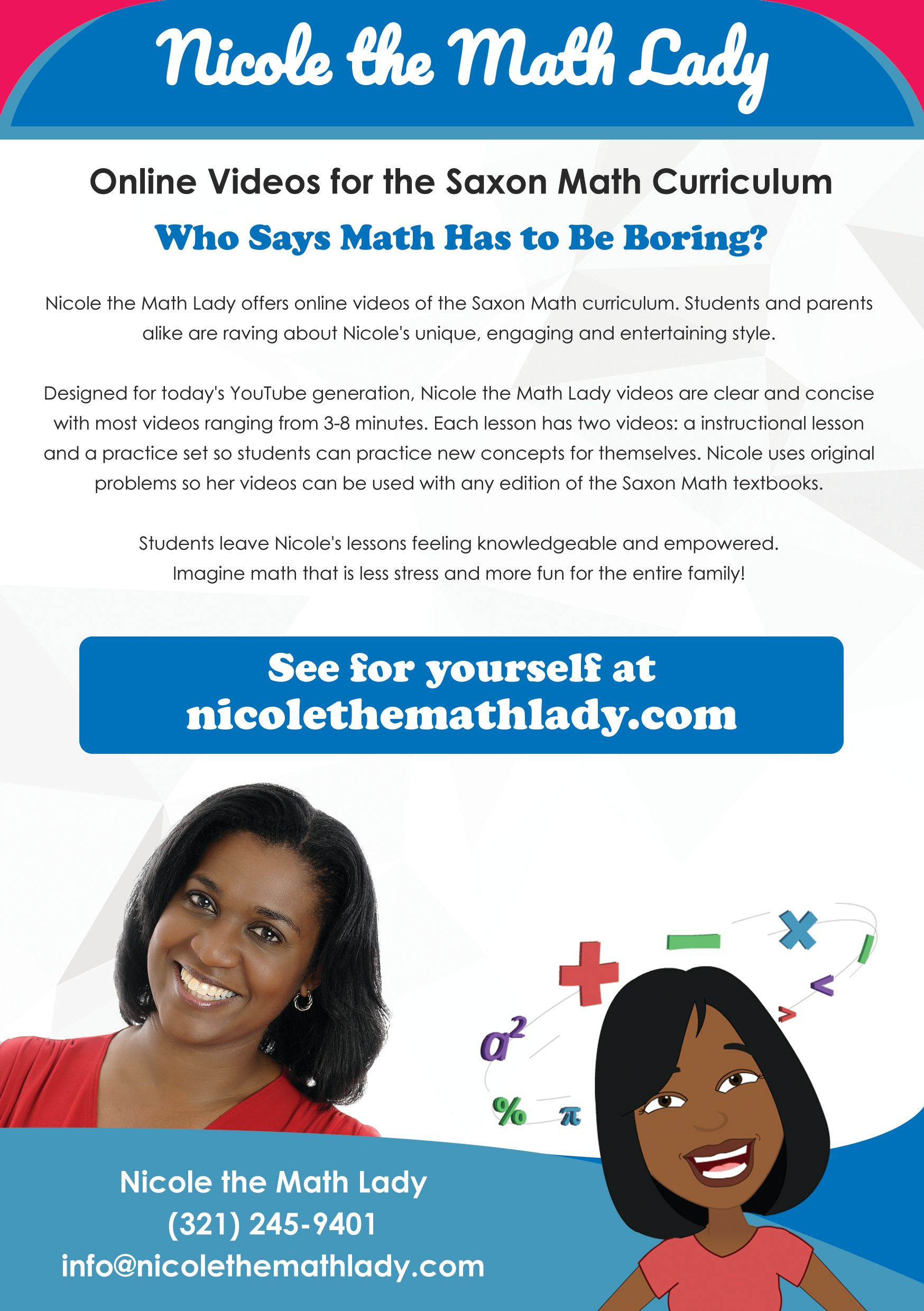 Nicole the Math Lady offers online math videos that follow the Saxon ...