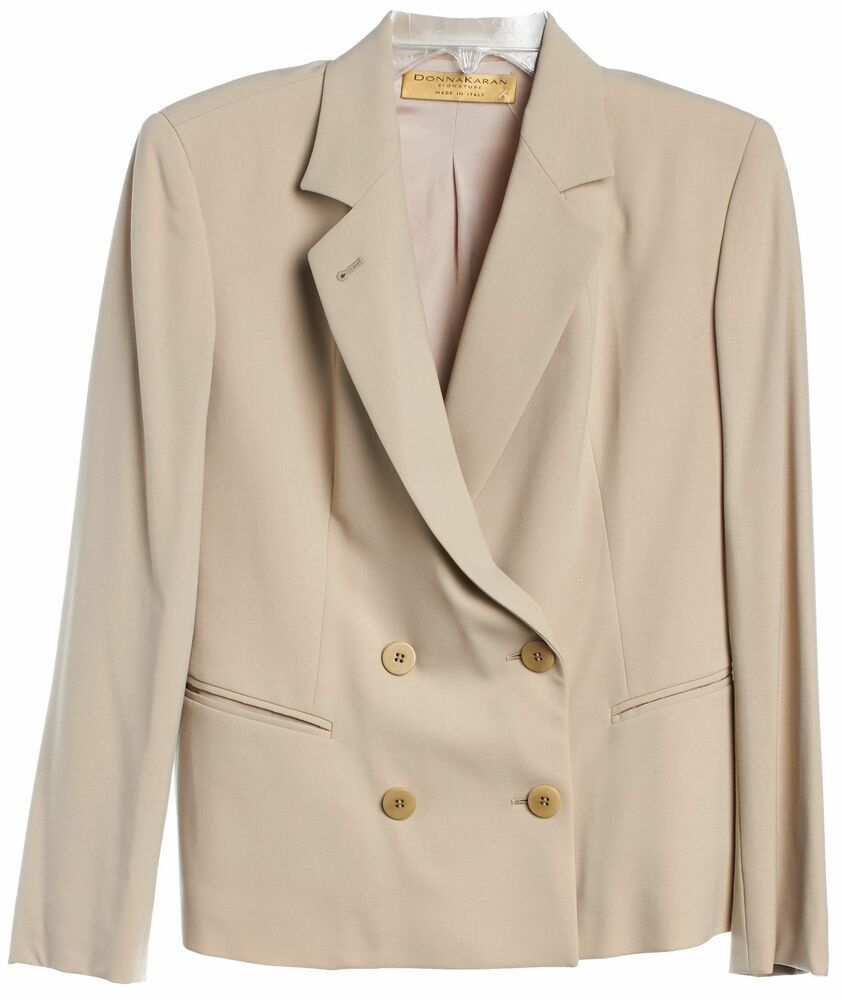 check out 2f78e 0215b eBay Ad) DONNA KARAN Beige Wool Doubled Breasted Blazer Size ...