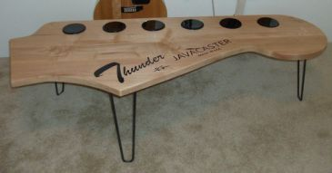 javacaster 5 39 long solid maple and artglass coffee table fender stratocaster guitar headstock. Black Bedroom Furniture Sets. Home Design Ideas