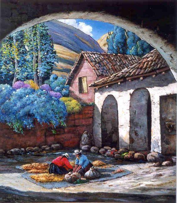 Resultado de imagen para andean painting peru campesinos - Cuadros de pies ...