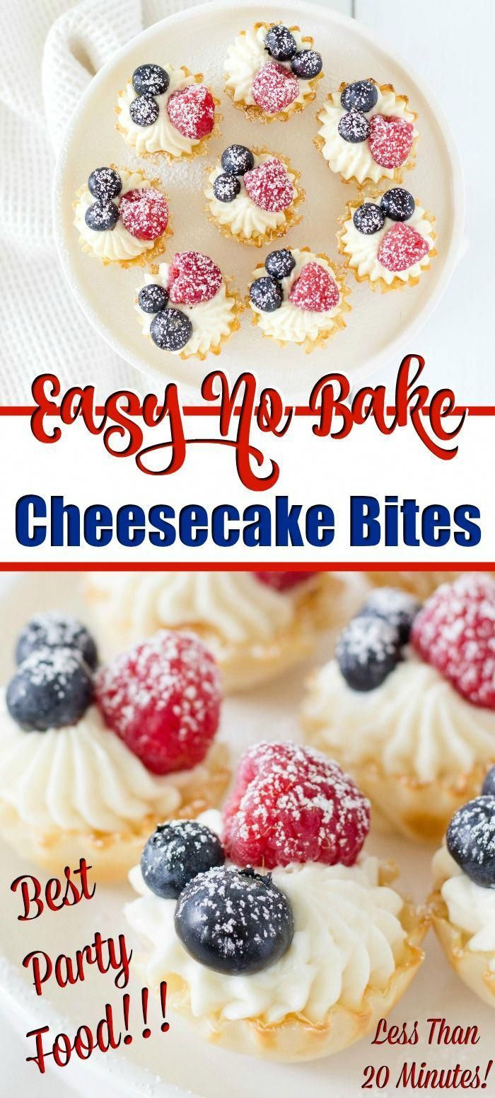 Cheesecake Bites - Need mini desserts for your holiday parties? These bite sized cheesecakes make the perfect party food. It's a super easy recipe that you can make in 20 minutes (but they'll disappear much faster!). These no bake cheesecakes are always the first desserts to disappear at my parties!  #cheesecake #nobakecheesecake #minicheesecake #cheesecakebites #dessert #minidessert #partyfood #cheesecakedessertseasy