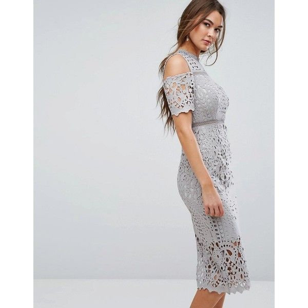 True Decadence Premium Cutwork Lace Cold Shoulder Maxi Dress (£128) ❤ liked  on