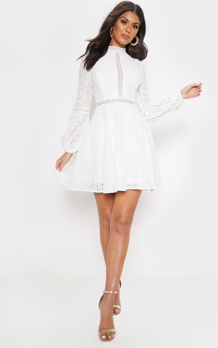 White Lace Long Sleeve Skater Dress In