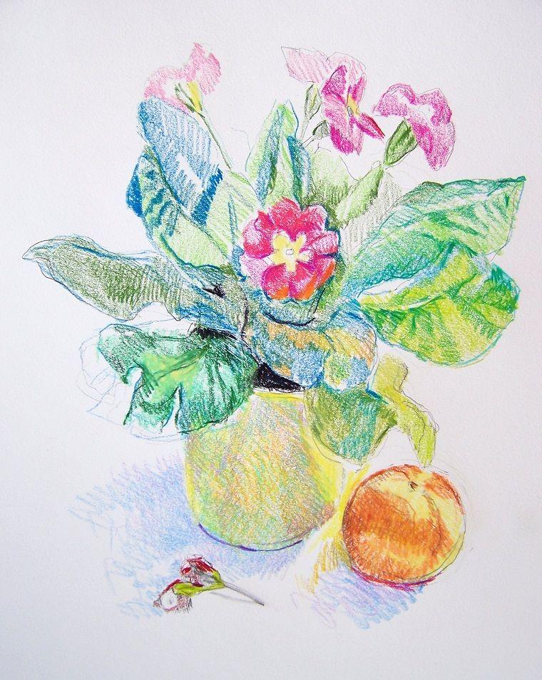 Disegni Facili Da Disegnare A Mano Libera Vaso Di Fiori Colorati