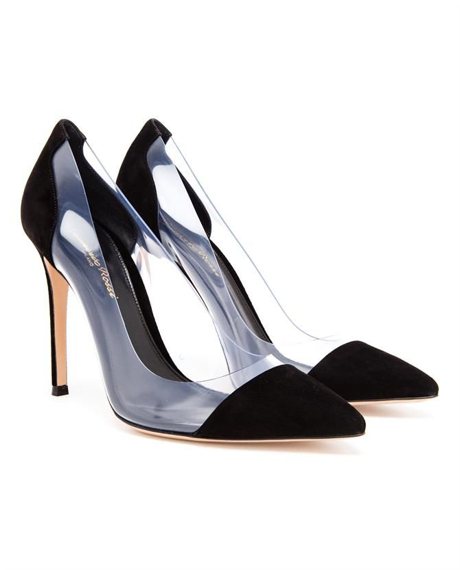 GIANVITO ROSSI   Suede and Perspex Pumps