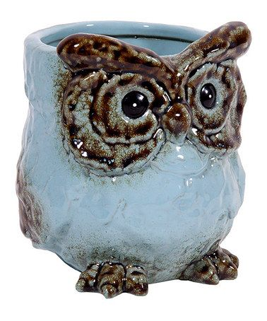 Take a look at this Sky Blue Short Ceramic Owl Vase by Home Essentials and Beyond on #zulily today!